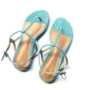Schutz Aqua Blue Suede Strappy Flat Sandal  | 6